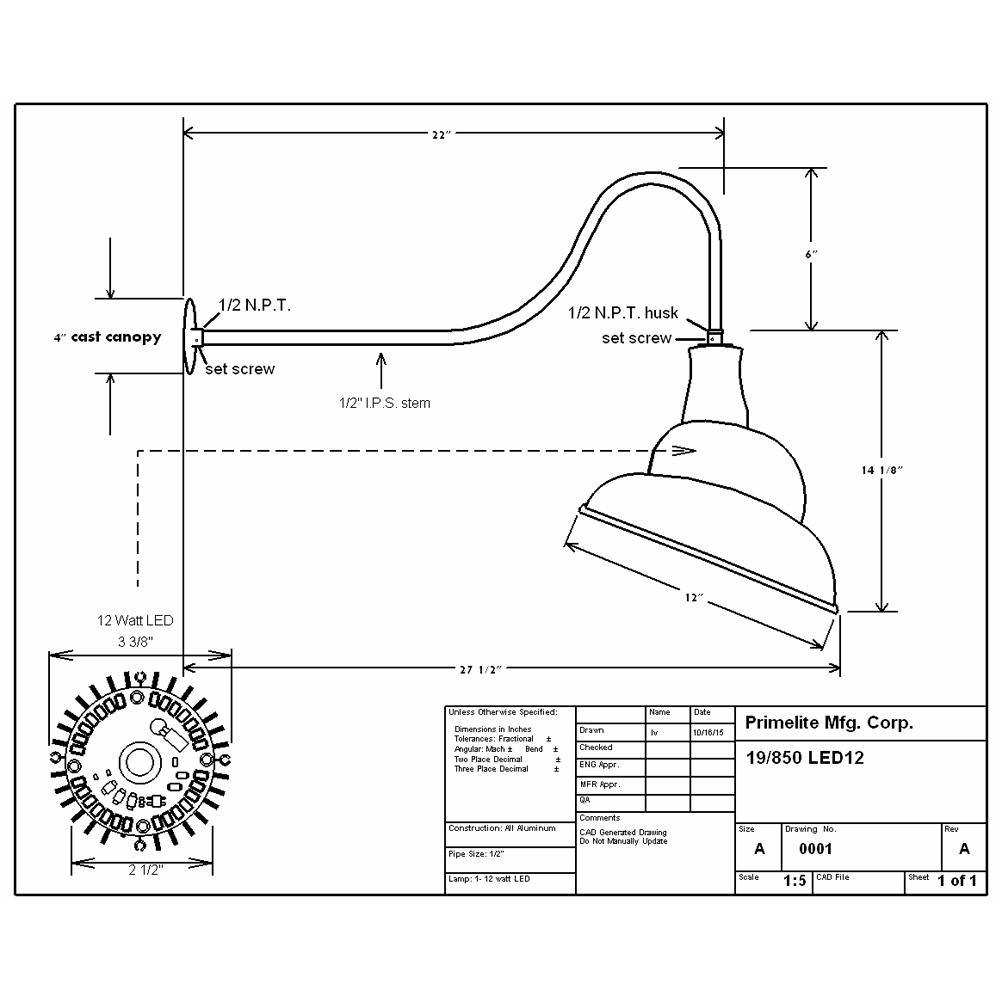 Gooseneck Light Fixture Cad Block - Light Fixtures