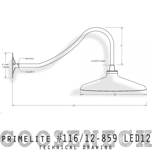 technical drawing gooseneck #116/12-859 LED12