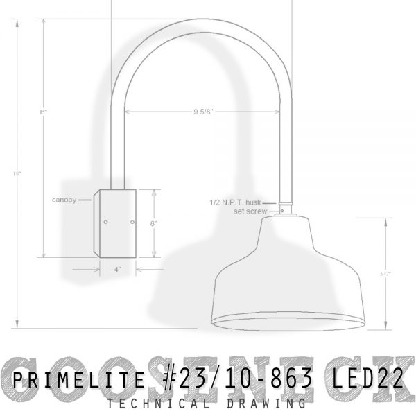 Technical drawing Gooseneck #23/10-863 LED22