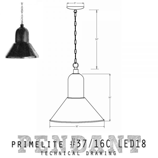 technical drawing Pendant #37/16C LED18