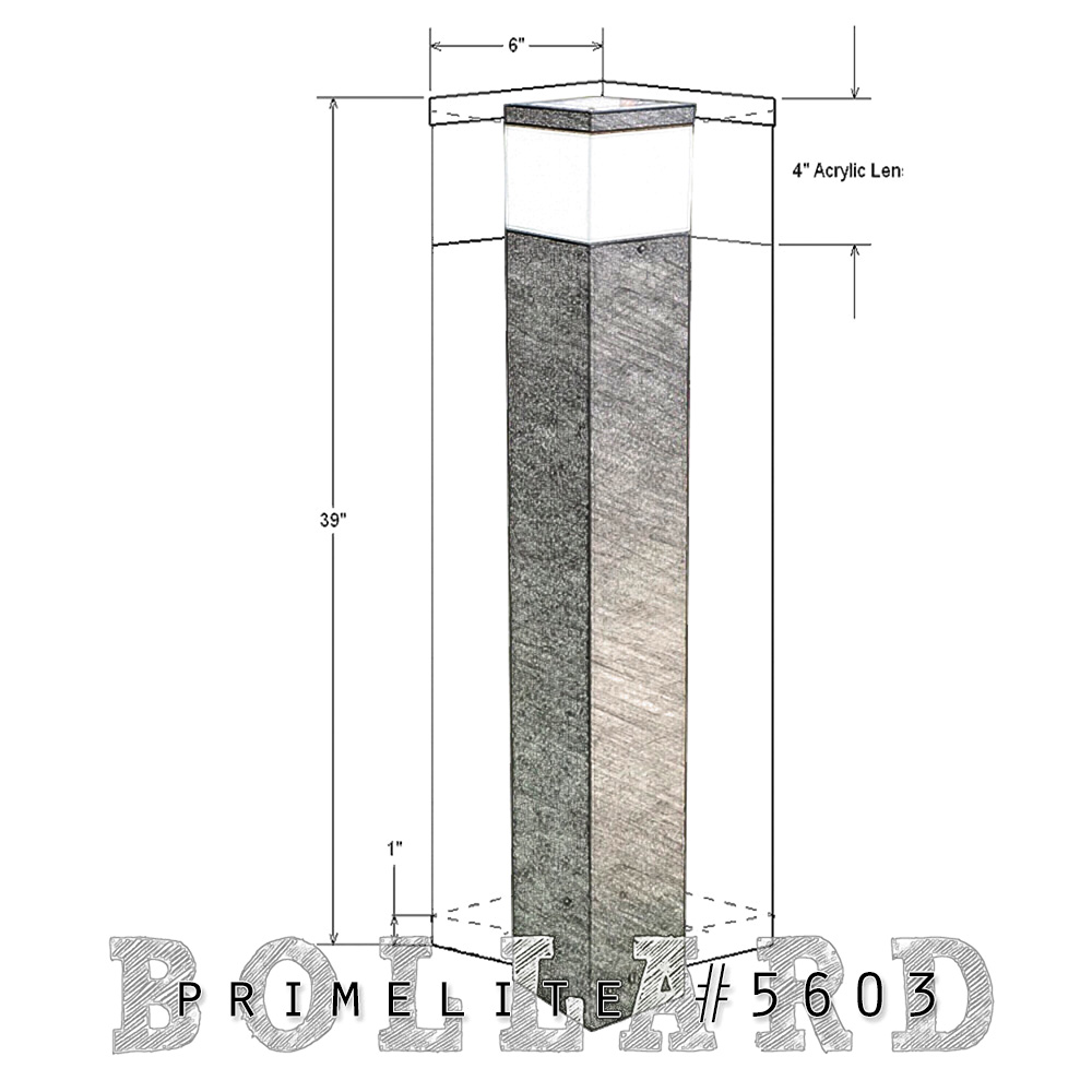 technical drawing bollard #5603
