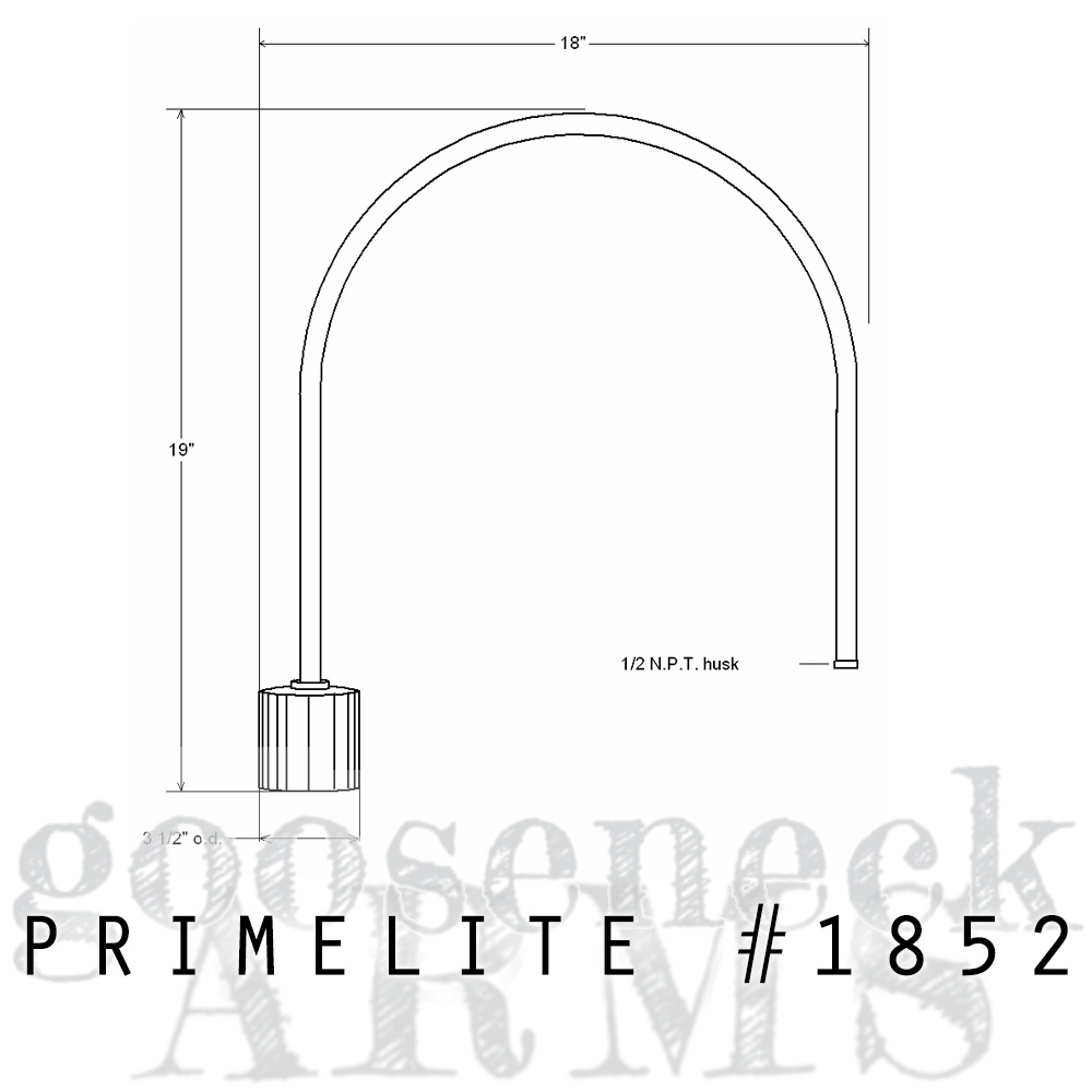 Technical Drawing post mount arm #1852