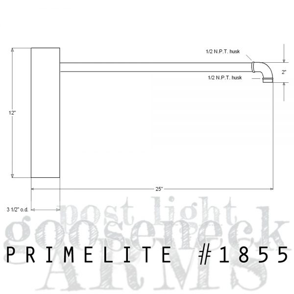 technical drawing Post Mount Arm #1855