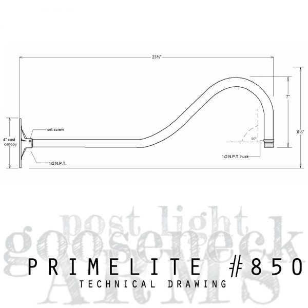 techcnical drawing gooseneck arm #850