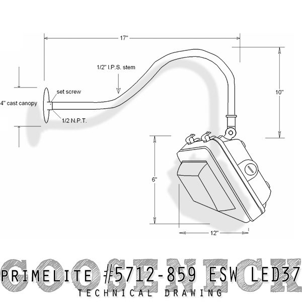 technical drawing gooseneck #5712/859 ESW LED37