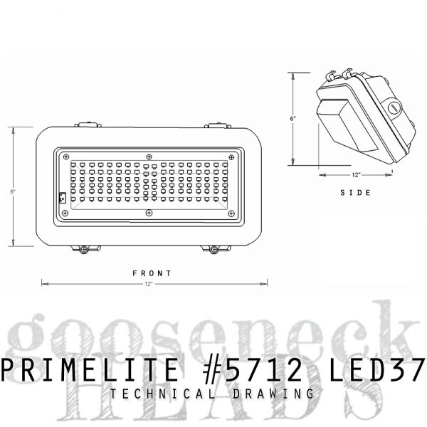 technical drawing Gooseneck Head #5712 LED37
