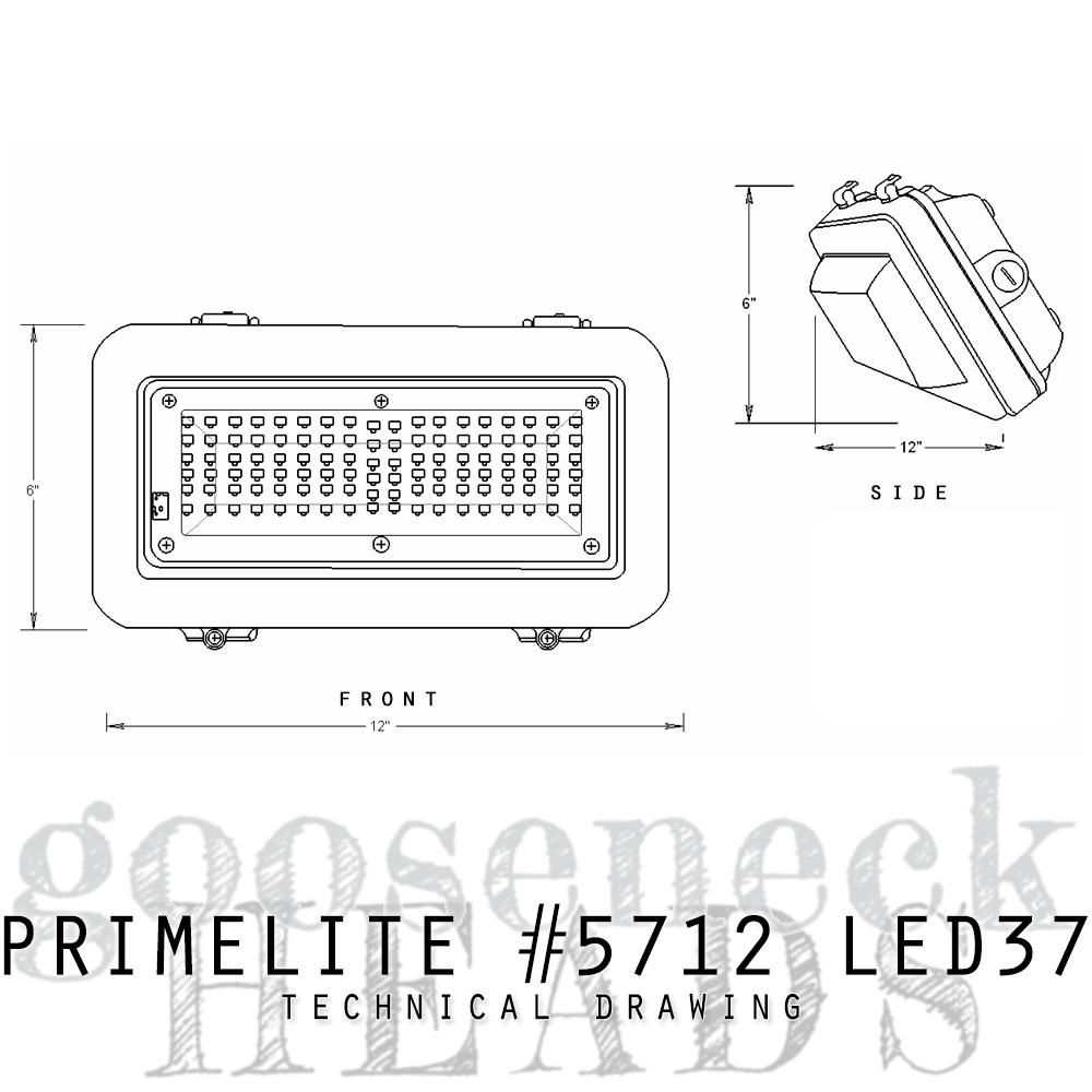 technical drawing Gooseneck Head #5712 LED37