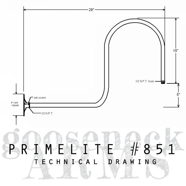 Technical drawing Gooseneck Arm #851