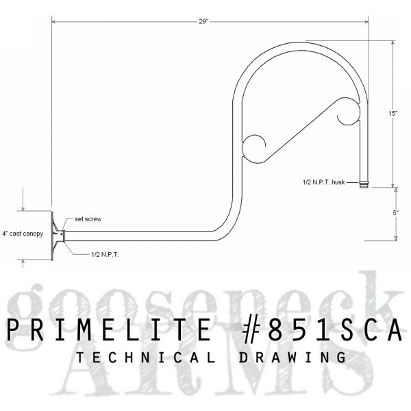 techncial drawing gooseneck arm #851 SCA
