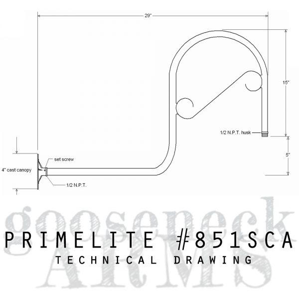 techncial drawing gooseneck arm #851 SCA