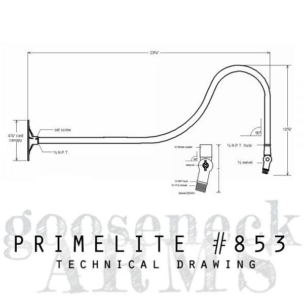 technical drawing gooseneck arm #853