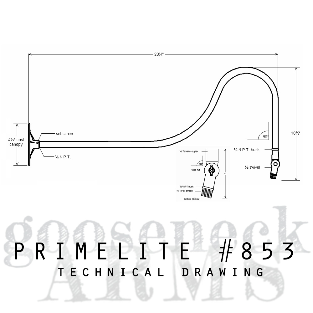 technical drawing gooseneck arm #853