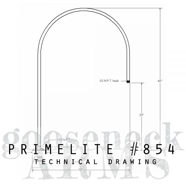 technical drawing gooseneck arm #854