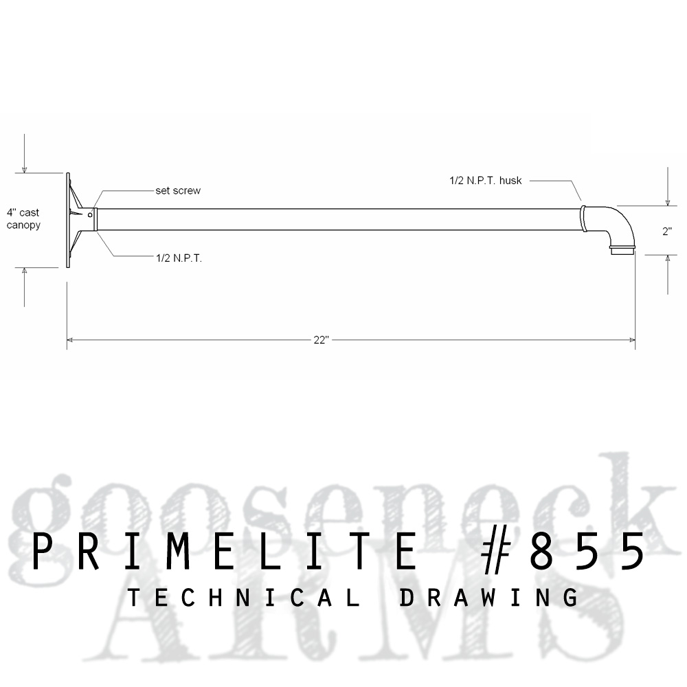technical drawing gooseneck arm #855