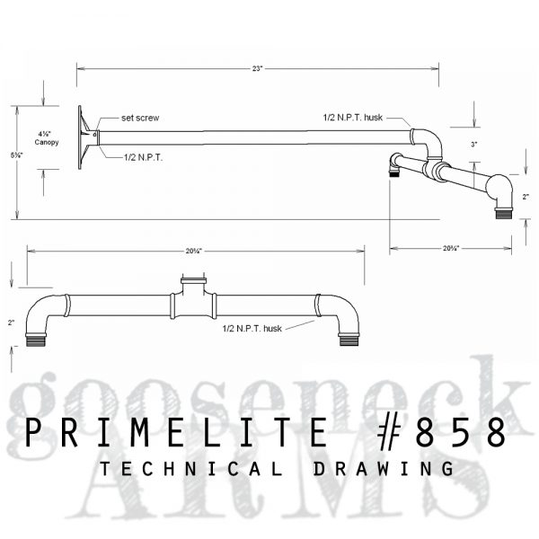 technical drawing gooseneck arm #858