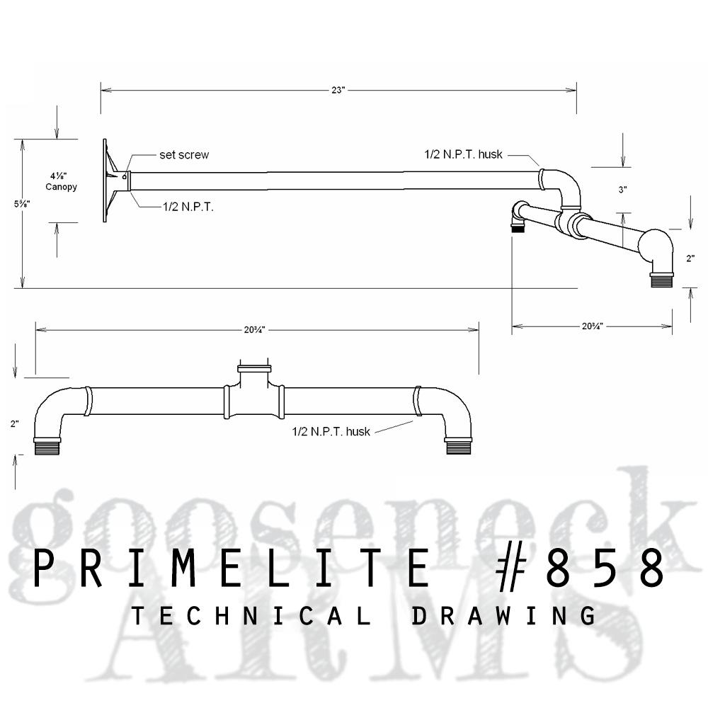 technical drawing gooseneck arm #858