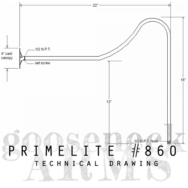 Technical drawing Gooseneck Arm #860