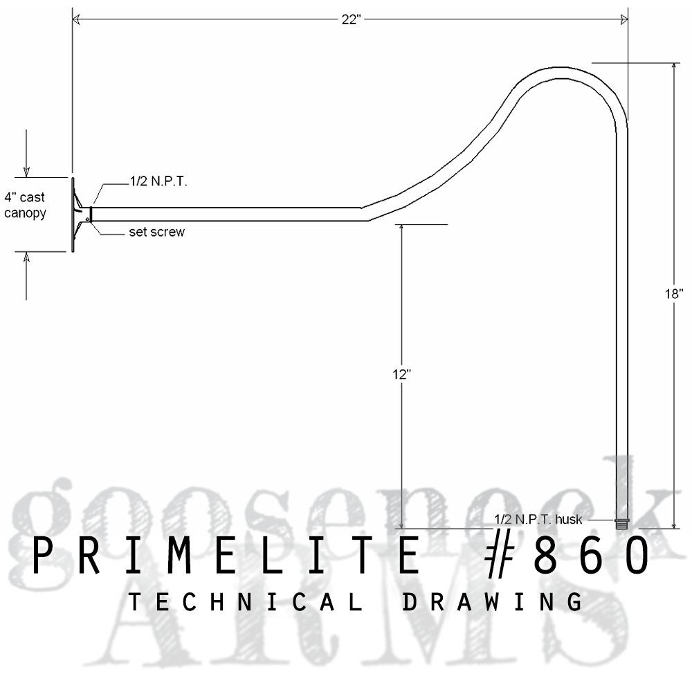 Technical drawing Gooseneck Arm #860