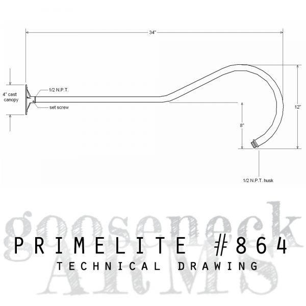 Technical drawing Gooseneck Arm #864