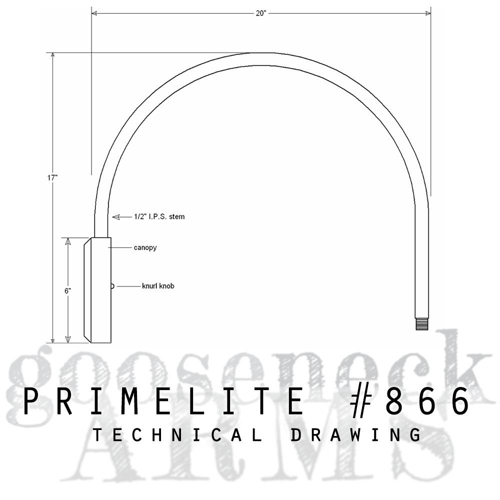 Technical drawing Gooseneck Arm #866