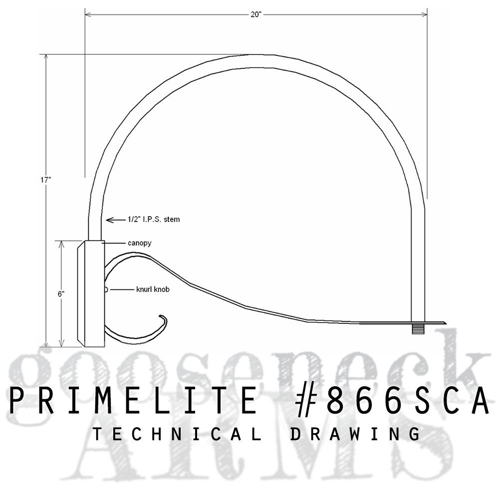 Technical drawing Gooseneck Arm #866SCA