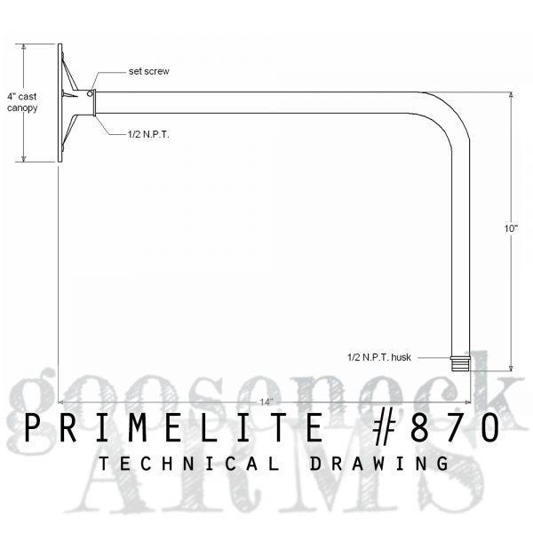 Technical drawing Gooseneck Arm #870