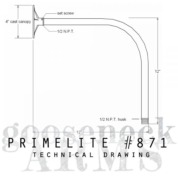 Technical drawing Gooseneck Arm #870