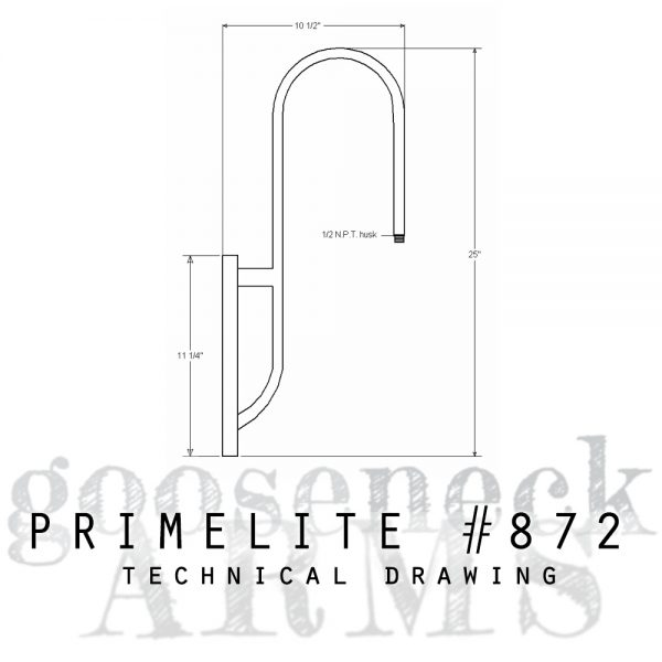 Technical drawing Gooseneck Arm #872