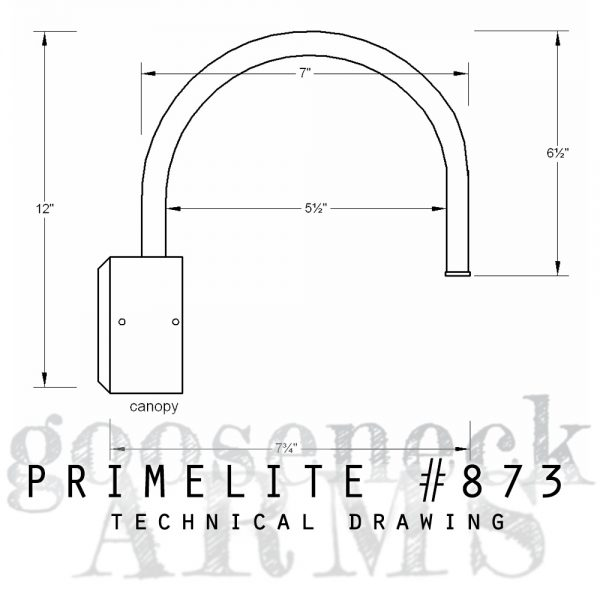 Technical drawing Gooseneck Arm #873