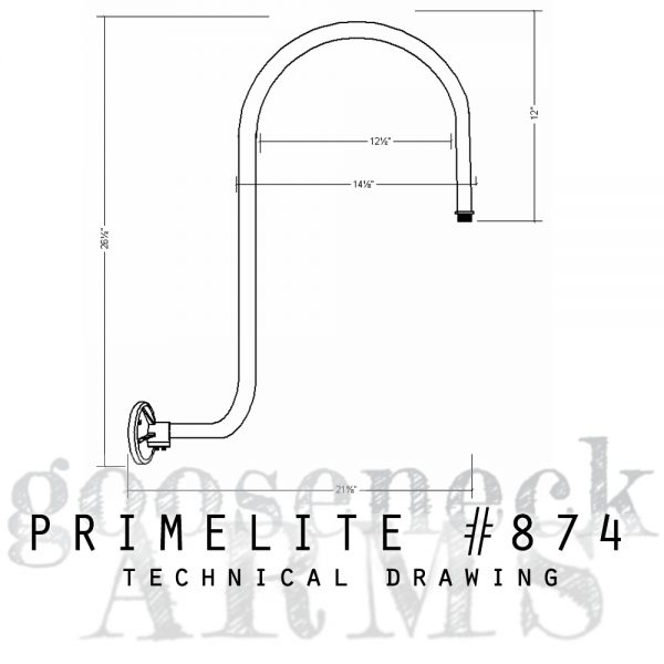 Technical drawing Gooseneck Arm #874