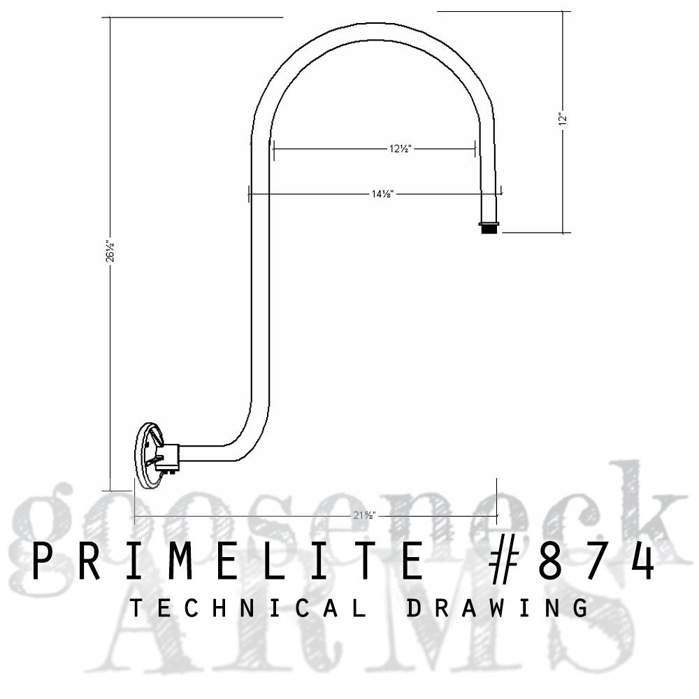 Technical drawing Gooseneck Arm #874
