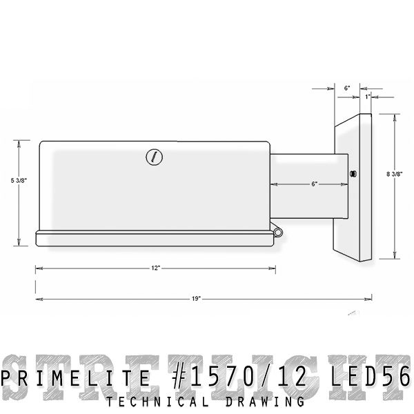 technical drawing street light #1570/12 LED56
