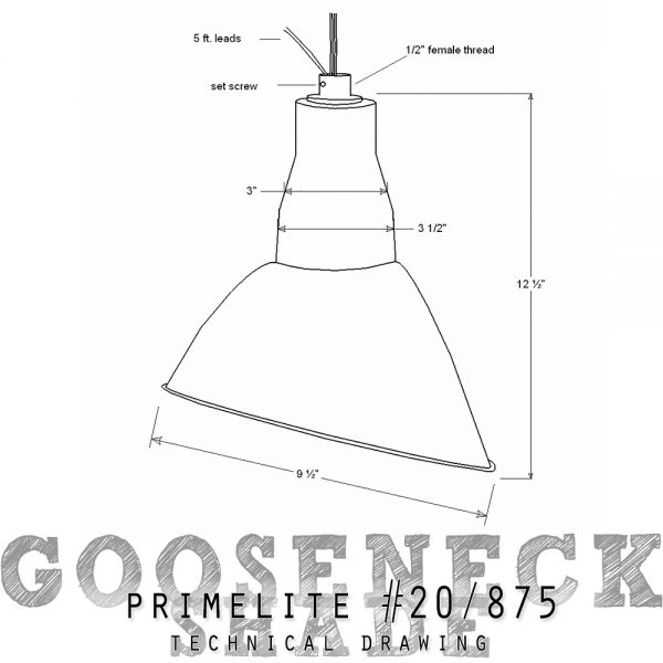 technical drawing gooseneck shade #20A