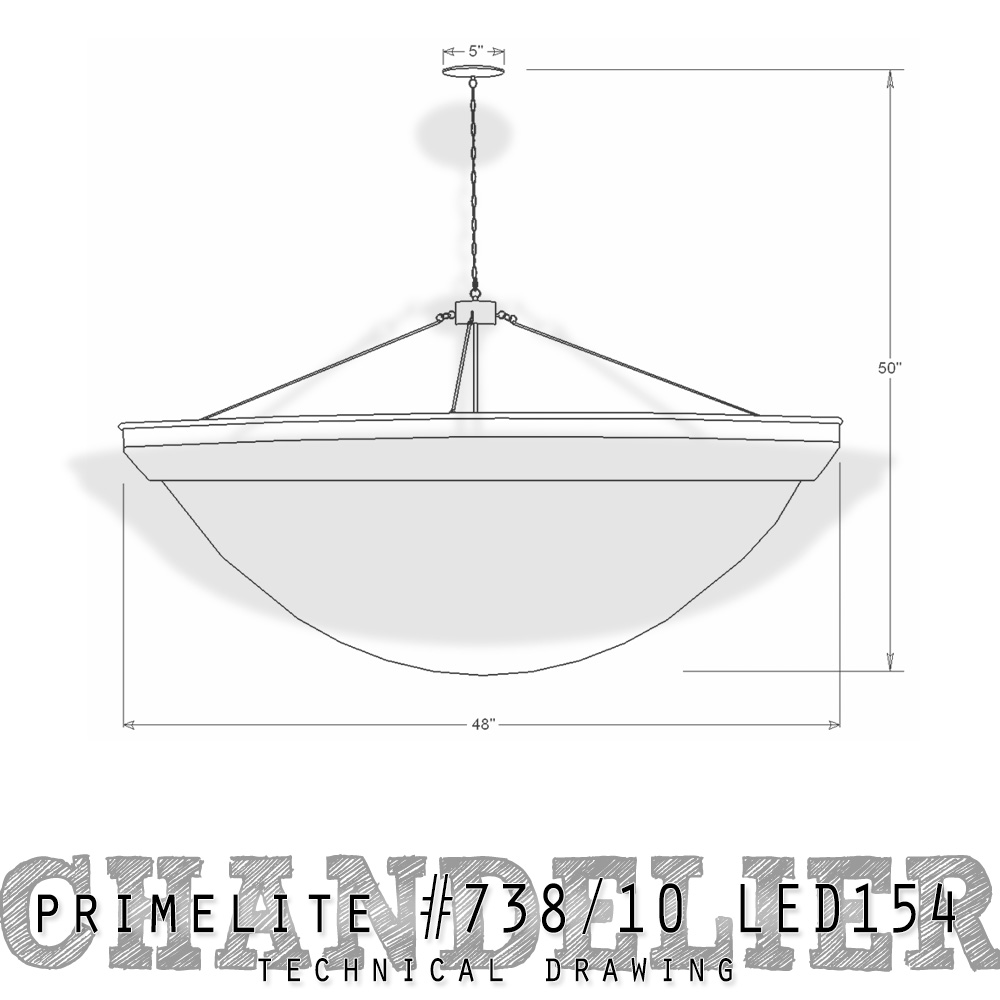 Technical Drawing Primelite Chandelier #738/10 LED154