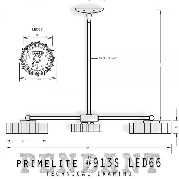technical drawing #913S LED66