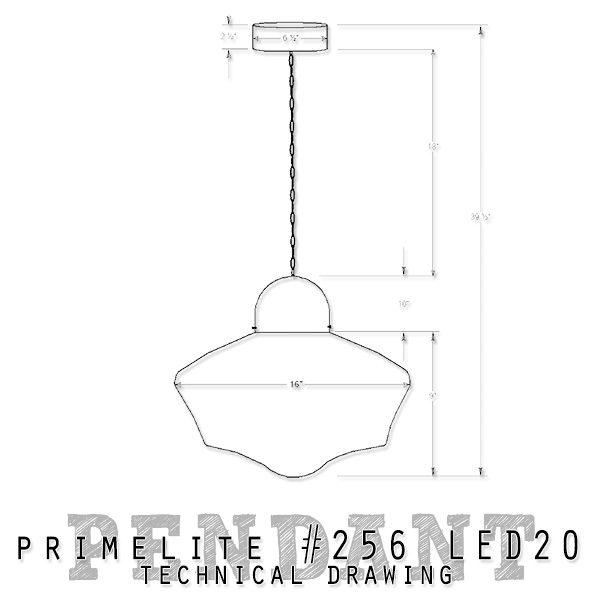 technical drawing Primelite School House Globe Pendant #256