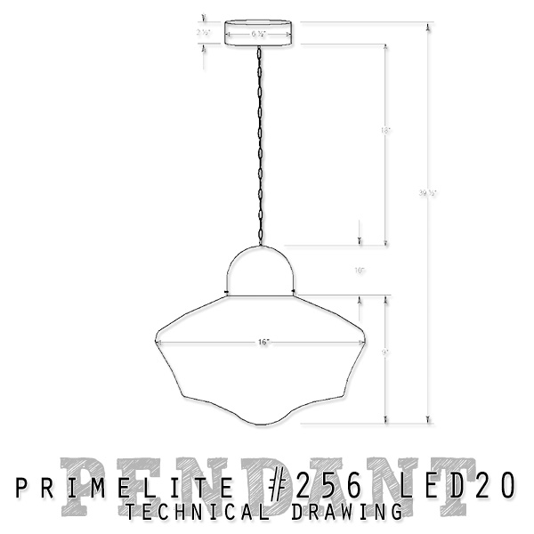 technical drawing Primelite School House Globe Pendant #256