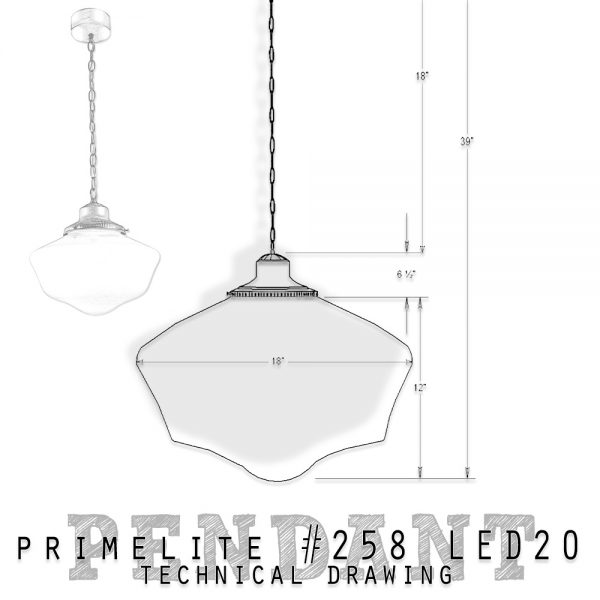 technical drawing Primelite School House Globe Pendant #258