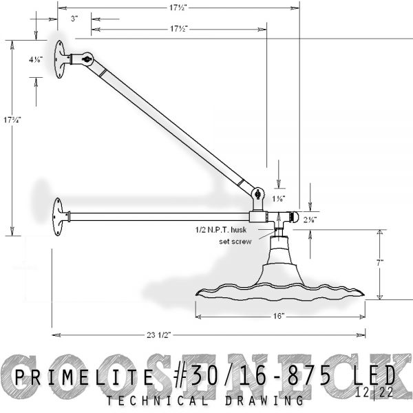 technical drawing Primelite Gooseneck #30/16-875 LED series