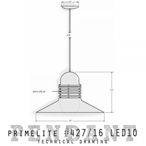 technical drawing pendant #427/16 LED13