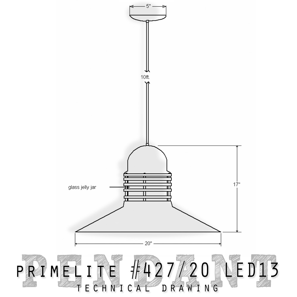 technical drawing pendant #427/20 LED13