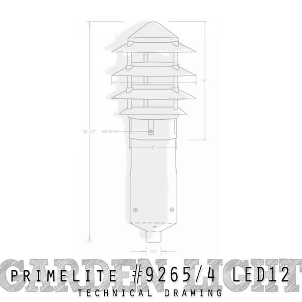 technical drawing: Garden Light #9265/4 LED12