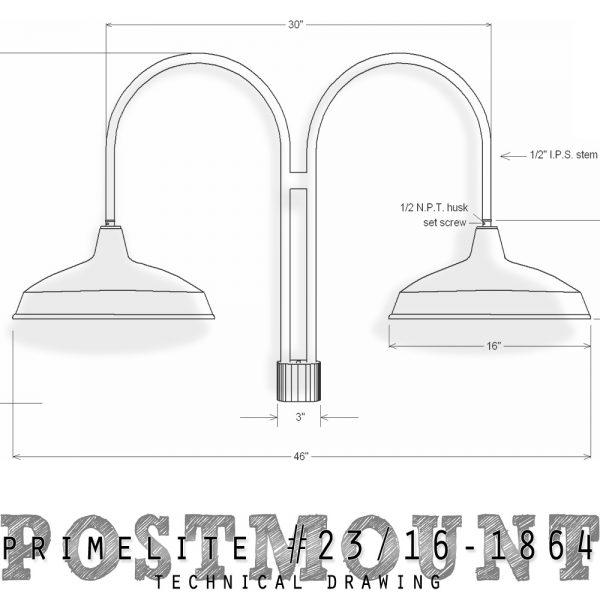 technical drawing post mount #23/16-1864